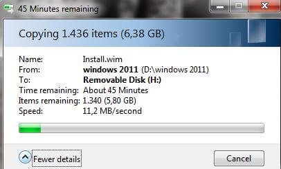 Viteza copiere HDD-stick USB