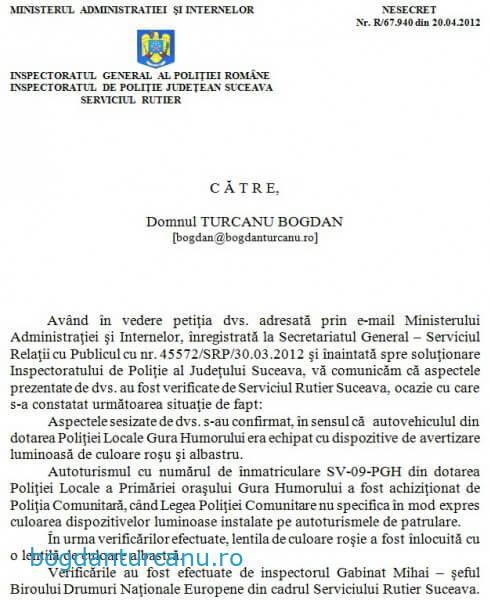 Raspuns sesizare IPJ Suceava