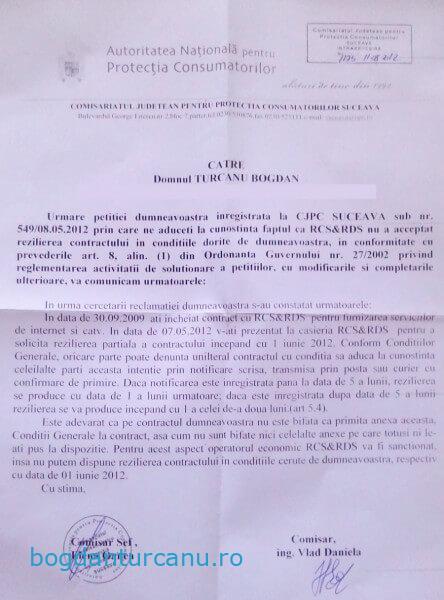 Raspuns ANPC - reziliere contract RCS & RDS