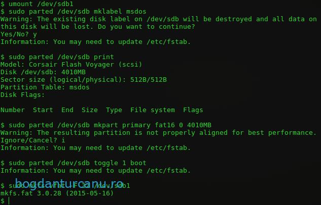 Linux creare stick bootabil cu FreeDOS