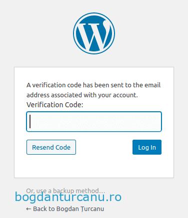 Wordpress autentificare cu doi factori introducere cod din email