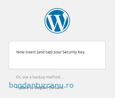 Wordpress autentificare cu doi factori atingere cheie U2F