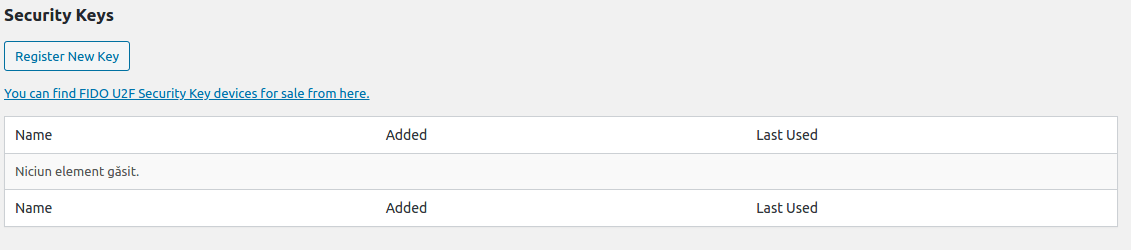 Wordpress autentificare cu doi factori tabel chei U2F gol