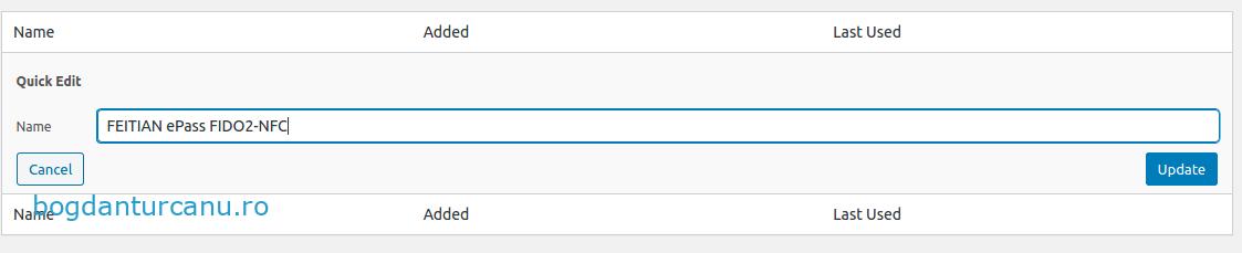 Wordpress autentificare cu doi factori redenumire chei U2F