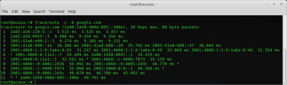 Traceroute IPv6 Orange Home Net